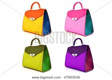 Set of multicolored female bags on a white background