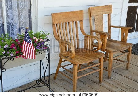 Wooden Chairs On Porch