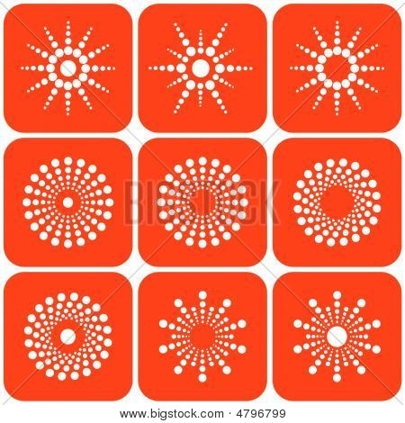 Abstract sun icons. Design elements. Vector illustration. poster