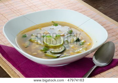 Chicken soup with lemon and rice