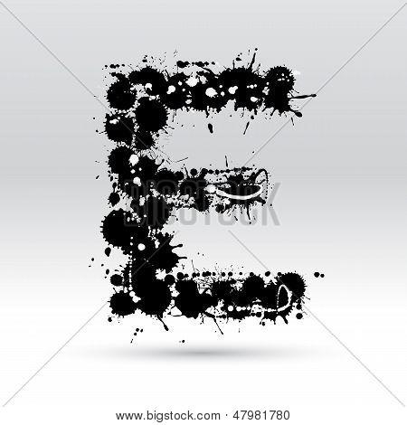 Letter E Formed By Inkblots