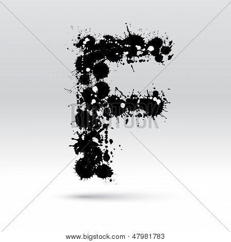 Letter F Formed By Inkblots