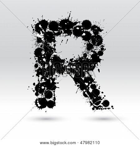 Letter R Formed By Inkblots