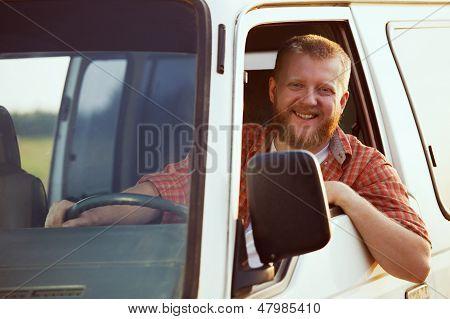 Jolly Driver At The Wheel Of His Car