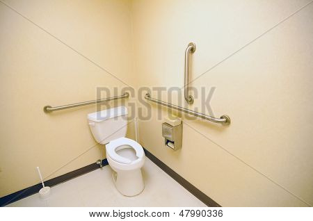 ada clean public toilet with grab bars for handicapped poster