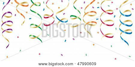Background with party streamers and confetti, illustration poster