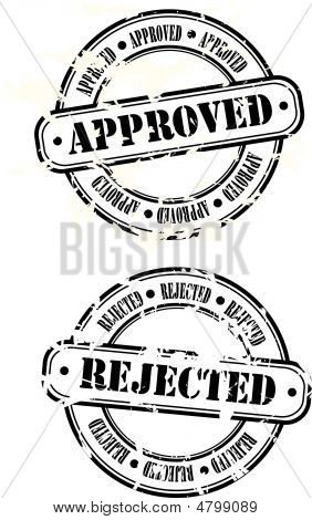 Rubber Stamps, Approved And Rejected