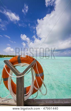 Life Belt At The Sea