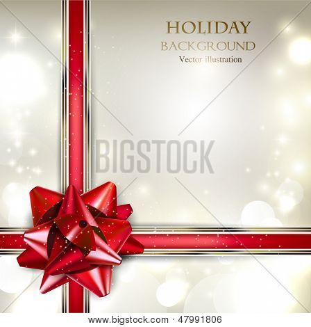 Elegante Holiday-Hintergrund mit roter Schleife und Platz für Text. Vektor-Illustration.