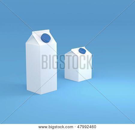Two White Milk Carton Packages