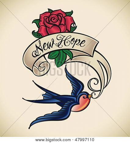 Old-school styled tattoo of a swallow with banner and rose. Editable vector illustration.