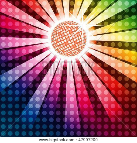 Discoball With Funky Rainbow Background