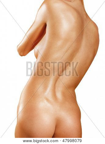 part of back with scoliosis isolated on white background
