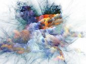 Artistic background made of bursting strands of fractal smoke and paint for use with projects on design science technology and creativity poster