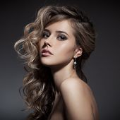 Beautiful Blond Woman. Curly Long Hair poster
