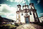 view of the igreja de nossa senhora do carmo of the unesco world heritage city of ouro preto in minas gerais brazil poster