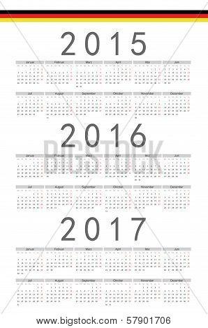 German 2015, 2016, 2017 Year Vector Calendar