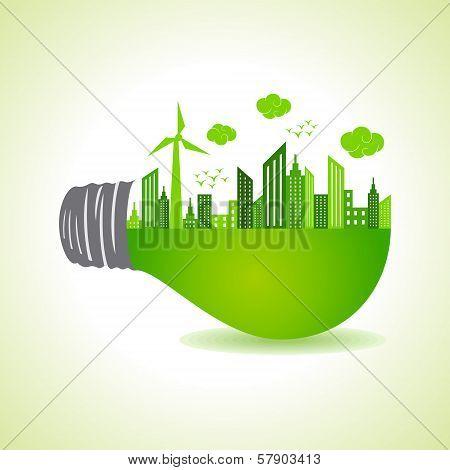Eco cityscape on light bulb