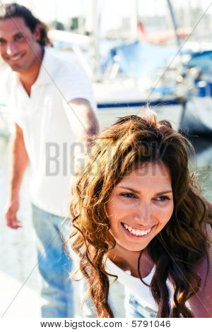 Close-up Of Smiling Female At Yacht