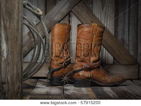 cowboy boots on the porch