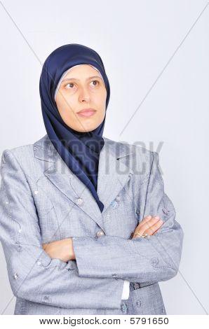 Young White Beautiful Muslim Women Standing
