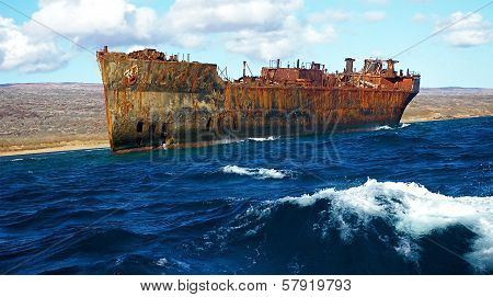 Rusty Ship Still Afloat In the Pacific Ocean