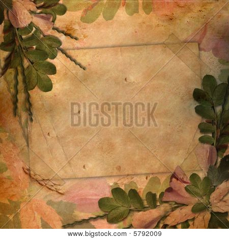 Vintage Background With A Flower Composition.