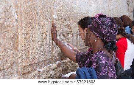 Jerusalem, Israel - March 14, 2006: Women Pray At The Wailing Wall.