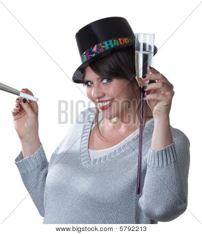 Young woman toasts New Years isolated on white