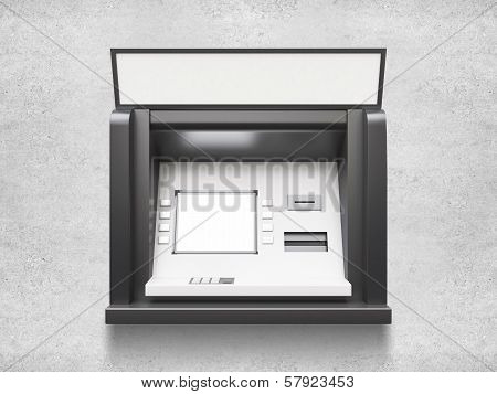 atm machine with blank display, close up poster