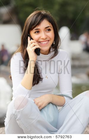Brunette On Phone