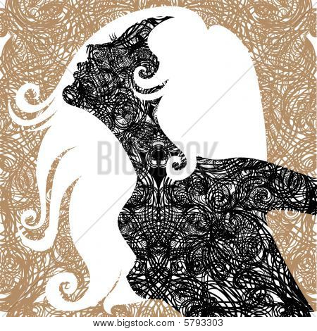 Vector grunge Closeup decorative vintage woman with beautiful long hair