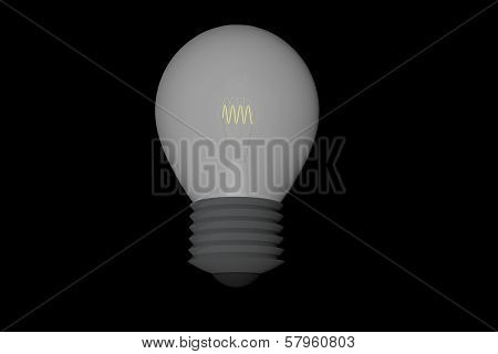 Bulb With Lukewarm Light Over Black Background, 3D Render