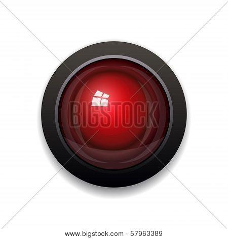 Red Alarm Light Bulb isolated on white background. Vector illustration poster