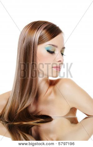 Pretty Girl With Smooth Gloss Long Hair