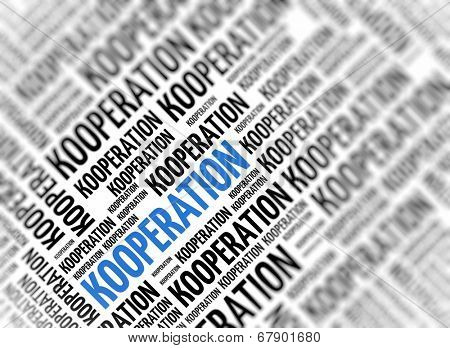 Background with german word - Kooperation (Cooperation) - repeated in random sizes and orientations in black text with one central word in large blue uppercase lettering and selective focus poster