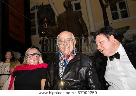 MOSCOW - JUNE, 26: T.Mikhalkova, Nikita Mikhalkov. ��¡harity  foundation Russian Siluet. Fashion show  at the Russian Academy of art . June 26, 2014 in Moscow, Russia
