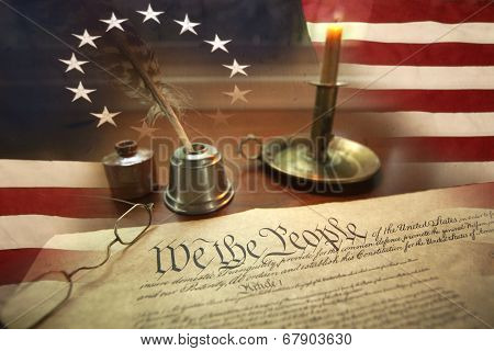 Us Constitution With Quill Pen, Glasses, Candle, Ink And Flag