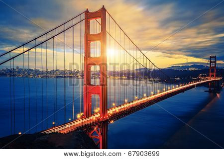 Famous Golden Gate Bridge At Sunrise