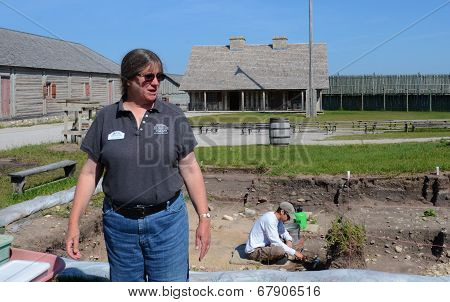 Archaeologist Lynn Evans At Fort Michilimackinac