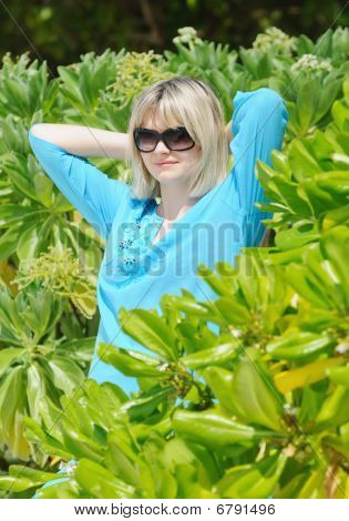 Young Pretty Woman In Mangrove