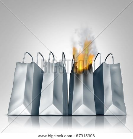 Losing sales business crisis concept with a group of shopping bags as one bag burns in flames as a financial symbol of market loss and debt problems due to budget problems. poster