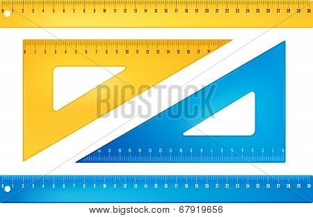 Blue and yellow rulers