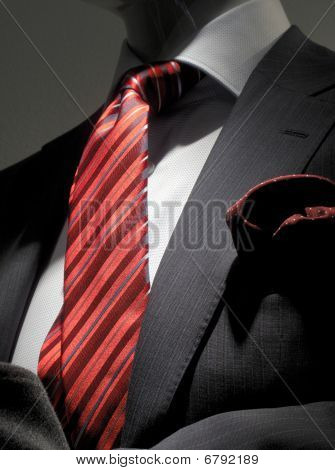Striped Grey Jacket With Red Striped Tie And Handkerchief (vertical)