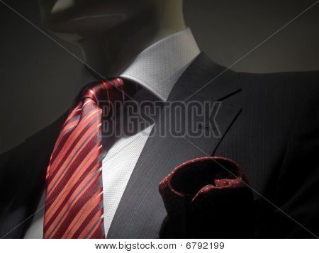 Striped Grey Jacket With Red Striped Tie And Handkerchief (horizontal)