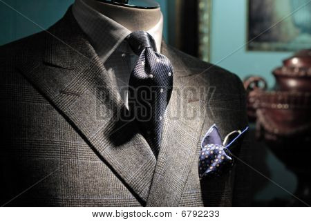 Grey Checkered Jacket, Dark Blue Tie And Handkerchief