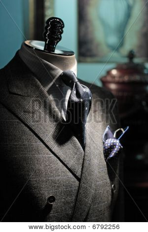 Grey Checkered Jacket, Dark Blue Tie And Handkerchief (vertical)