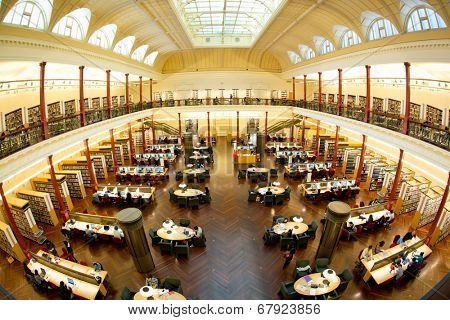 MELBOURNE- July 3, 2014: Redmond Barry reading room at the State Library of Victoria in Melbourne.  It is the central library of the state of Victoria, Australia.