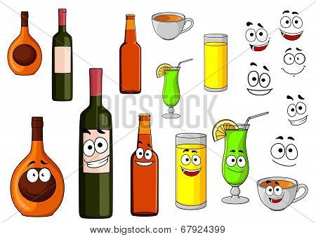 Beverage icons with a bottle of wine tropical cocktail liqueur fruit juice beer bottle and cup of coffee with happy cartoon smiling faces poster