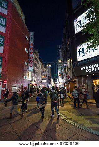 Tokyo, Japan - November 23, 2013 : Street Life In Shinjuku, Tokyo, Japan